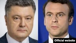 Украина президенті Петр Порошенко мен Франция президенті Эммануэль Макрон.