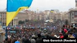 Ukrainë - Pamje nga protesta e opozitës në Sheshin e Pavarësisë (Maidan Nezalezhnosti) në Kijev 3 Dhjetor 2013.