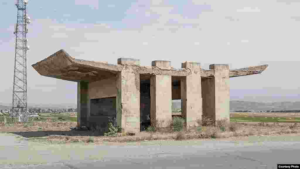 A bus stop in Saratak, Armenia. Herwig says Armenia is home to many heavy concrete structures with experimental, fun designs.