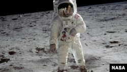 Apollo 11 astronaut Buzz Aldrin walks on the surface of the moon on July 20, 1969, in a photograph taken by Neil Armstrong.