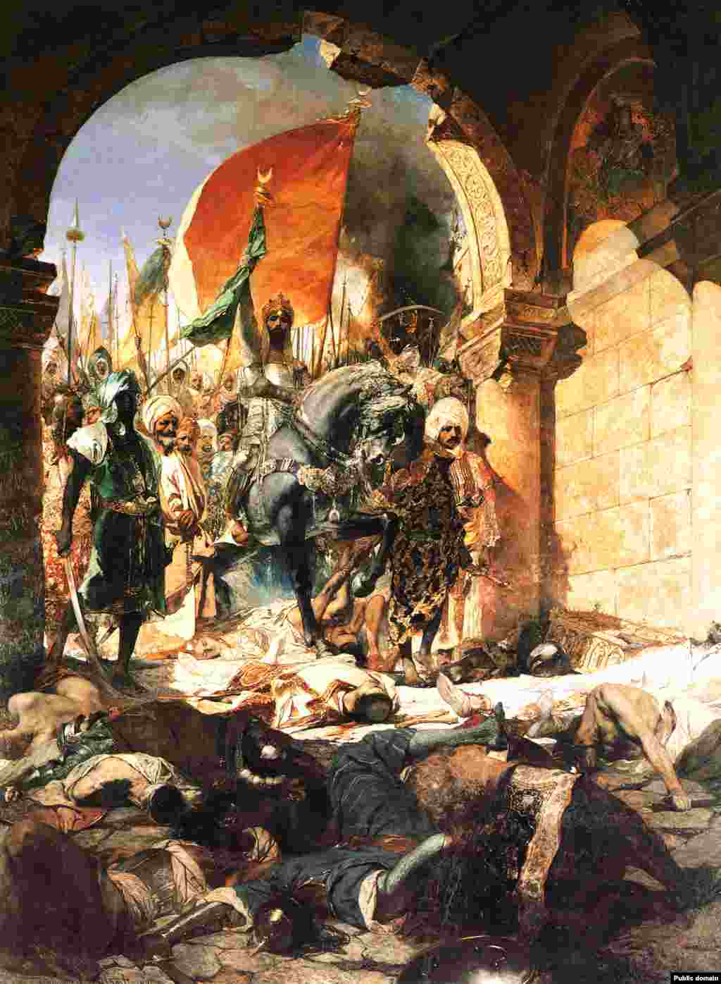 A 19th century painting by French artist Jean-Joseph Benjamin-Constant depicting Sultan Mehmet II conquering Constantinople.   After the army of 21-year-old Sultan Mehmet II conquered and sacked Constantinople in 1453, Hagia Sophia was converted into a mosque.