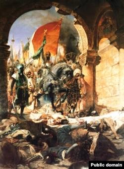 Картина 19-го століття французького художника Жана-Жозефа Бенджаміна-Константа із зображенням султана Мехмета II, який завоював Константинополь
