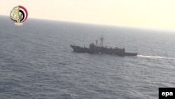 A screen grab taken from a handout video obtained from the Egyptian Defense Ministry shows search operations for a missing EgyptAir flight off the Egyptian coast, north of Alexandria, Egypt, on May 20.
