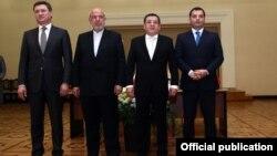 Հայաստանի, Ռուսաստանի, Իրանի, էներգետիկայի նախարարներն ու Վրաստանի փոխնախարարը, Երևան, 13-ը ապրիլի, 2016թ.