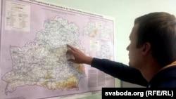 Мапа ў інстытуце радыяцыйнай бясьпекі «Белрад»