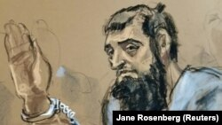 Sayfullo Saipov is seen in this courtroom sketch appearing in a Manhattan federal courtroom in a wheelchair on November 1.