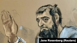 Sayfullo Saipov, the suspect in the New York City truck attack, as seen in court in an artist's sketch.