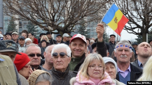 Around 2,000 protesters are believed to have turned out for the demonstration in Chisinau on April 5.