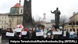 Акция протеста во с требованием предоставить переселенцам право голоса, Львов, 18 марта 2017 года