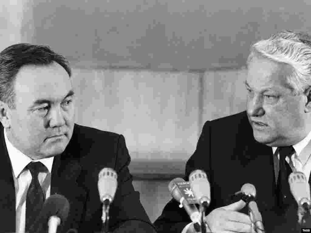 Nazarbaev and Soviet leader Boris Yeltsin in 1990 - During his first term, Nazarbaev sought to extend the length of the presidential term in office. He later succeeded in eliminating term limits altogether.
