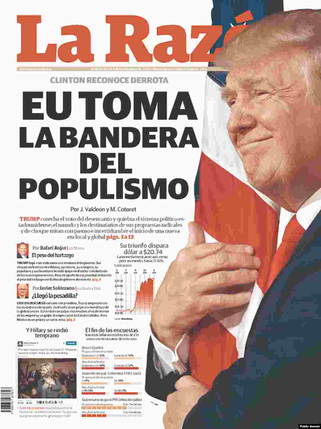 "Mexico's La Razon newspaper. The headline reads ""America takes the flag of populism."""
