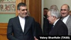 Iranian Deputy Foreign Minister Hossein Ansari (L) meets with Russian Deputy Foreign Minister Sergei Vershinin in Moscow, January 10, 2019