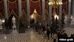 Протестующие идут по дорожке в Сенате
