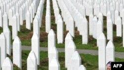A survivor of Srebrenica atrocities in 1995 at the Potocari memorial cemetery, near Srebrenica, in March.