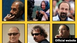(Clockwise from top-left): Mohammad Mehdi Asgarpou, Rakhshan Bani-Etemad, Asghar Farhadi, Abbas Kiarostami, Majid Majidi, and Reza Mirkarimi -- six prominent Iranian film directors who have launched a campaign calling for a nuclear deal between Tehran and six world powers.