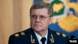 Russian Prosecutor-General Yury Chaika attends an extended meeting of the Prosecutor-General's Office board in Moscow on March 23.