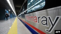 A train is stationed at the Uskudar Marmaray station ahead of its inauguration ceremony in Istanbul on October 29.