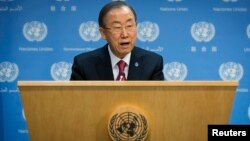 ՄԱԿ-ի գլխավոր քարտուղար Բան Կի-մունը Նյու Յորքում ասուլիսի ժամանակ, 25-ը նոյեմբերի, 2013թ․