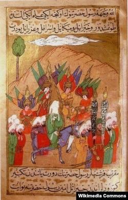 Пророк Мухаммед и его последователи направляются в Мекку, картина 1595 года