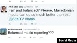 Твитер реакции од амбасадорите на ЕУ и на САД во Македонија, Аиво Орав и Џес Бејли на интервјуто на претседателот на СДСМ Зоран Заев на Сител, кое го водеше главниот уредник Драган Павловиќ Латас.