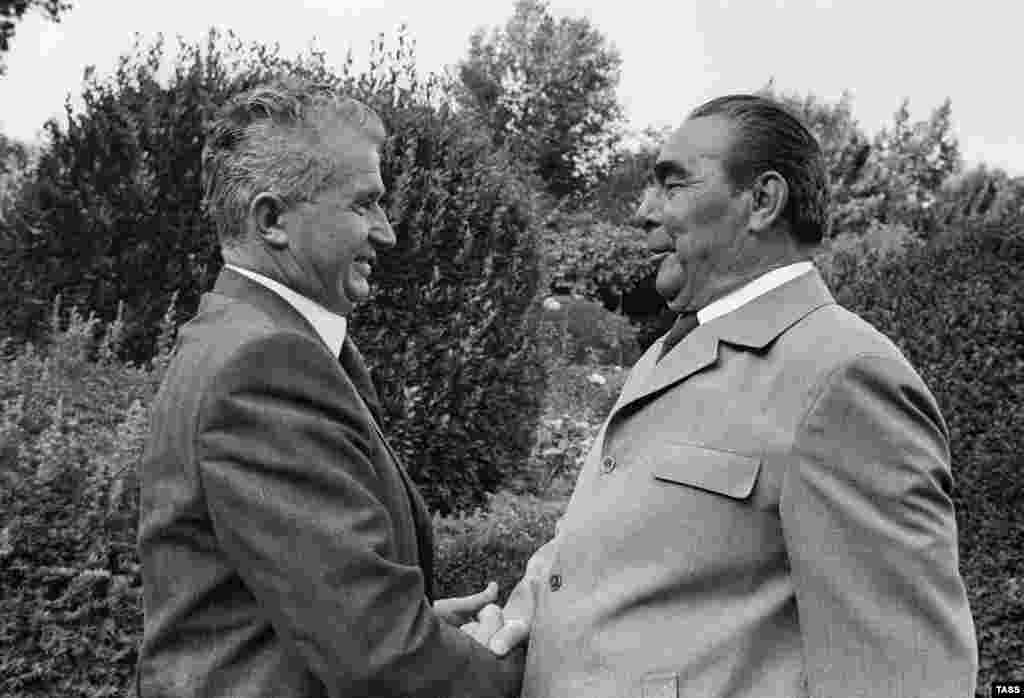 Romania's Nicolae Ceausescu meets with Soviet leader Leonid Brezhnev in Yalta in 1976. Brezhnev was a frequent visitor to Crimea, and continued the trend of hosting foreign guests from both inside and outside the communist bloc.