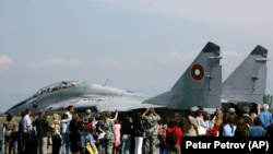 A Soviet-era Mig-29 fighter jet preparing for take off during an air show in Bulgaria.