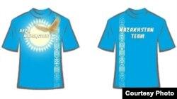 Лондон олимпиадасына баратын қазақстандық жанкүйерлердің киетін футболкасы. Астана, 31 мамыр, 2012 жыл.