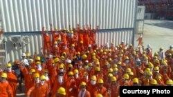 Consolidated Contractors Company жұмысшылары ереуілге шықты. D аралы, Қашаған, Каспий теңізі. 3 тамыз 2010 жыл