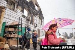 Сгоревшее здание в селе Масанчи, Жамбылская область. 27 февраля 2020 года.