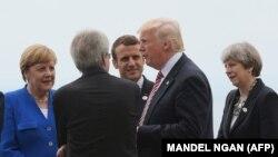 از راست: ترزا می، دونالد ترامپ، امانوئل مکرون، آنگلا مرکل
