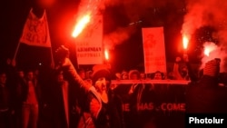 Armenia - Angry soccer fans demand the resignation of Ruben Hayrapetian, chairman of the Armenian Football Federation, Yerevan, 24Nov2014.