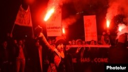 Armenia - Angry soccer fans demand the resignation of Ruben Hayrapetian, chairman of the Armenian Football Federation, Yerevan, 24Nov2015.
