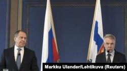 Сергей Лавров ва ҳамтои финландиаш Пекка Ҳаависто баъди мулоқоти рӯзи 3-уми март.