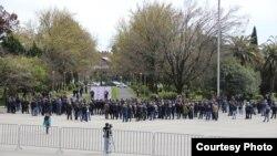 Протест предпринимателей в Абхазии, фото Елены Заводской