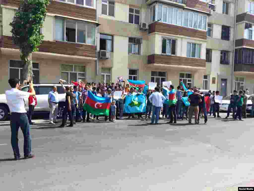 Azerbaijan. Baku. Protest action in front of China Ambassador in Baku