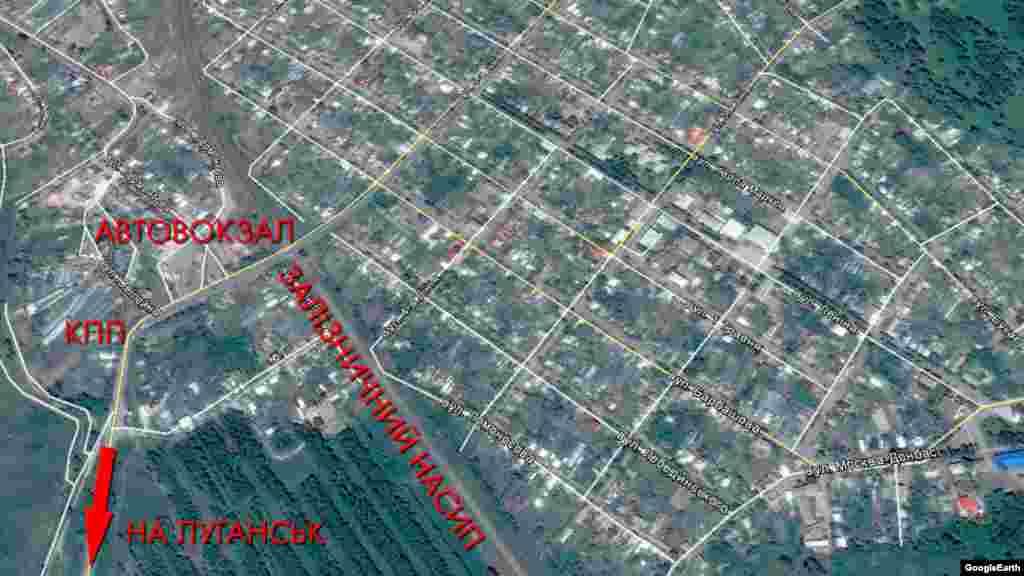 Автостанція і прилеглі вулиці на мапі Google Earth