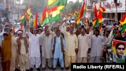 FILE: Members of Balochistan National Party protesting against Afghan refugees in the provincial capital, Quetta.