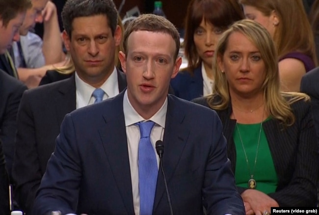 Марк Цукерберг дает показания в Конгрессе США, 10 апреля 2018 года