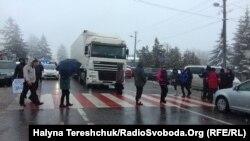 Акція протесту біля пункту пропуску «Шегині» на кордоні з Польщею, 3 лютого 2018 року