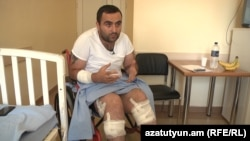 Armenia -- Robert Ananyan, a journalist for A1+ TV station injured in Sari Tagh, speaks to RFE/RL in hospital, 2Aug2016