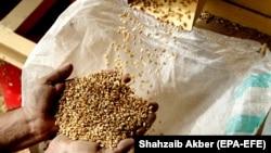 Рабочий в пакистанском городе Карачи пересыпает зерно для производства муки.