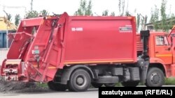 Armenia -- A new Russian-manufactured garbage truck acquired by Yerevan municipality, July 24, 2019.
