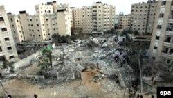 منطقه ای در غزه بعد از حمله هوایی اسرائیل