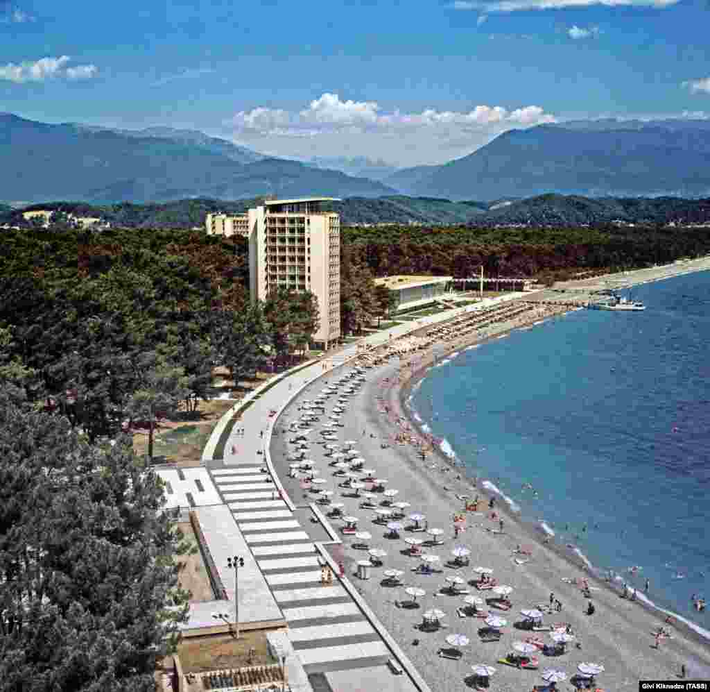 A resort in Abkhazia in 1973. The region's coastline was the favored holiday spot for the Soviet elite but, as the U.S.S.R. headed towards collapse, this jewel of the Georgian coast began to splinter along ethnic lines.