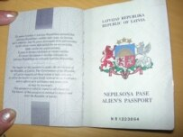 A so-called alien's passport, that is issued to many ethnic Russians in Latvia (RFE/RL)