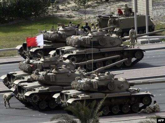 تانکهای ارتش بحرین در خیابانهای منامه