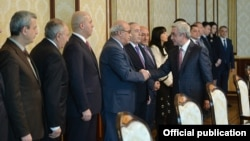 Armenia - President Serzh Sarkisian meets with senior members of the Armenian parliament in Yerevan, 12Jan2017.
