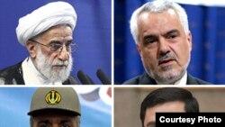 (از بالا چپ، جهت عقربههای ساعت) احمد جنتی، محمدرضا رحیمی، سعید مرتضوی، و محمدرضا نقدی