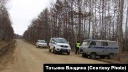 Блокпост на въезде в Богородское