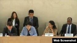 Қазақстан делегациясының БҰҰ-да адам құқығы есебін жариялап отыр. Женева, 30 қазан 2014 жыл. (Скриншот webtv.un.org сайтынан алынды).